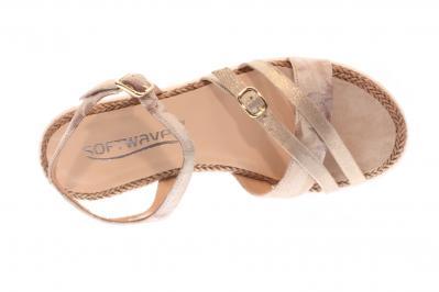 Softwaves Damen Sandale/Sandalette creme/platino (Beige) 7.64.07
