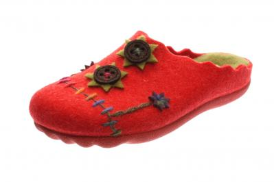 Manitu Damen Hausschuh rot 320509-4