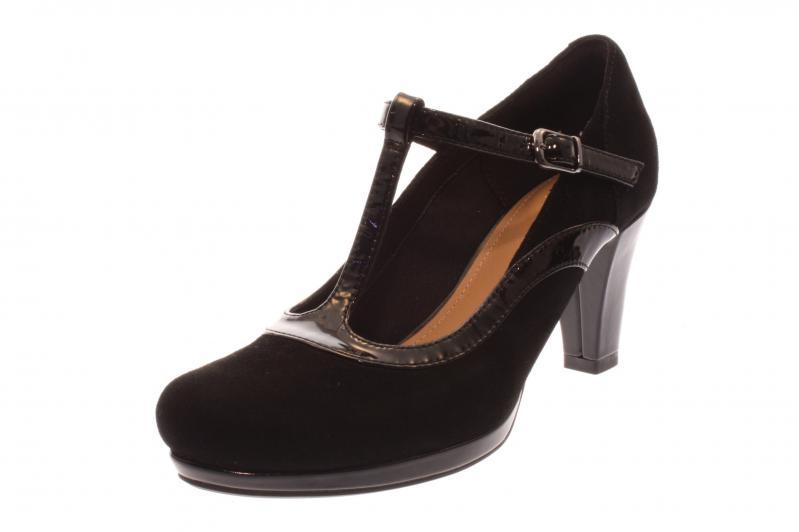 clarks damen pumps high heels chorus pitch black combi schwarz 261290904. Black Bedroom Furniture Sets. Home Design Ideas