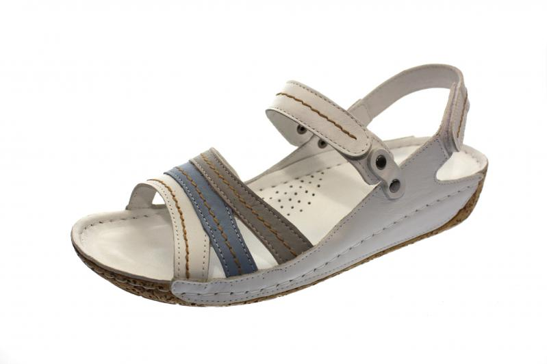 d8e7ba6987fa6a Gemini Damen Sandale Sandalette weiß hellblau (Weiß) 32023-02 181